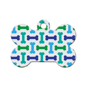 Bone Pattern, Green, Blue, Teal Bone Pet ID Tag