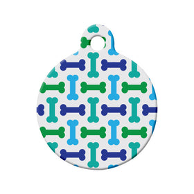 Bone Pattern, Green, Blue, Teal Circle Pet ID Tag