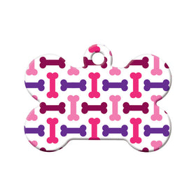 Bone Pattern, Purple, Pink Bone Pet ID Tag