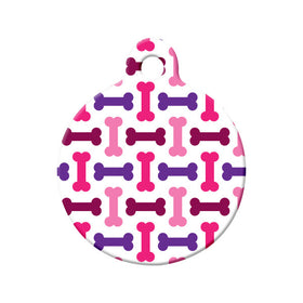 Bone Pattern, Purple, Pink Circle Pet ID Tag