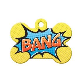 Retro Comic 'Bang' Bone Pet ID Tag