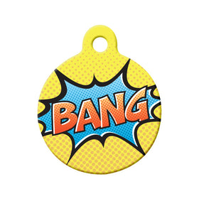 Retro Comic 'Bang' Circle Pet ID Tag