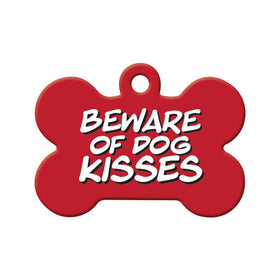 Beware of Kisses Red Bone Pet ID Tag