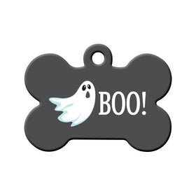 Halloween BOO! Ghost Bone Pet ID Tag