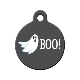 Halloween BOO! Ghost Circle Pet ID Tag