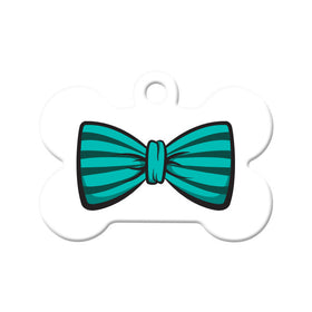 Teal Striped Bow Tie Bone Pet ID Tag