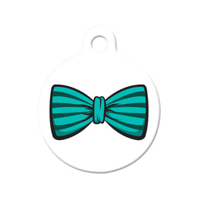 Teal Striped Bow Tie Circle Pet ID Tag
