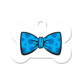 Polka Dot Blue Bow Tie Bone Pet ID Tag