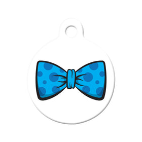 Polka Dot Blue Bow Tie Circle Pet ID Tag