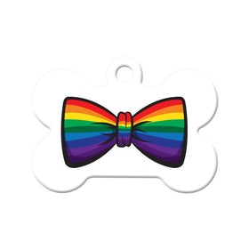Gay Pride Bow Tie Bone Pet ID Tag