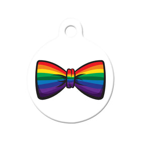Gay Pride Bow Tie Circle Pet ID Tag