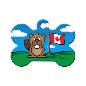 Canada Day Flag & Beaver Cartoon Bone Pet ID Tag