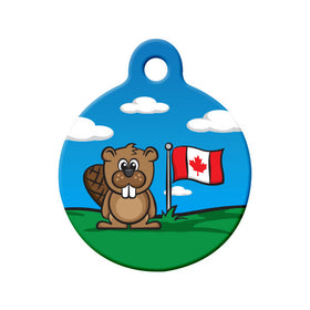 Canada Day Flag & Beaver Cartoon Circle Pet ID Tag