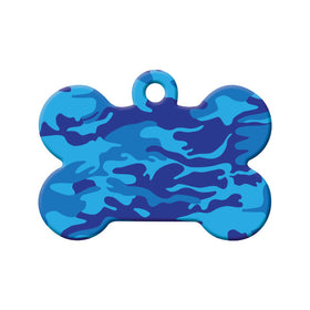 Blue Camouflage Design Bone Pet ID Tag