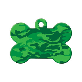 Green Camouflage Design Bone Pet ID Tag