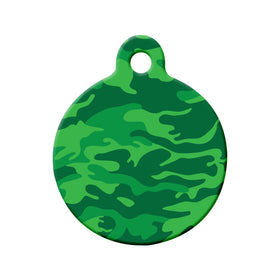 Green Camouflage Design Circle Pet ID Tag