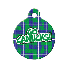 Hockey Plaid Design Circle Pet ID Tag