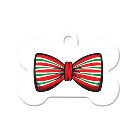 Christmas Holiday Bow Tie Bone Pet ID Tag