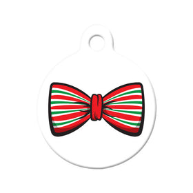 Christmas Holiday Bow Tie Circle Pet ID Tag