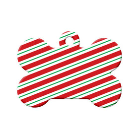 Christmas candy Cane Stripes Bone Pet ID Tag