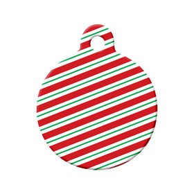 Christmas candy Cane Stripes Circle Pet ID Tag