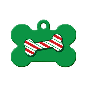 Christmas Candy Cane Bone Bone Pet ID Tag