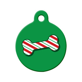 Christmas Candy Cane Bone Circle Pet ID Tag