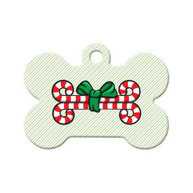 Christmas Candy Cane Bones Bone Pet ID Tag