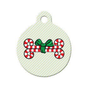 Christmas Candy Cane Bones Circle Pet ID Tag