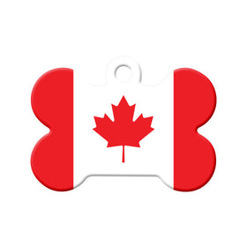 Canada Flag Bone Pet ID Tag