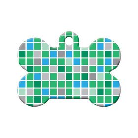 Checkered Green & Teal Pattern Bone Pet ID Tag
