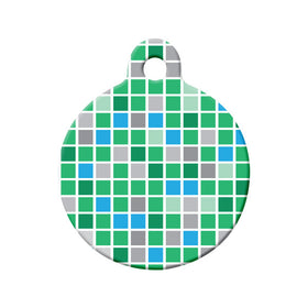 Checkered Green & Teal Pattern Circle Pet ID Tag