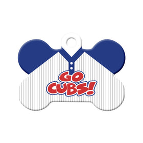 Go Cubs! Baseball Tee Bone Pet ID Tag