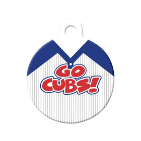 Go Cubs! Baseball Tee Circle Pet ID Tag