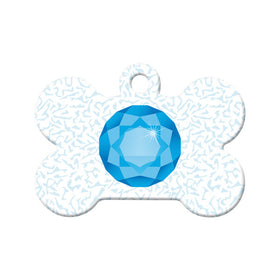 December Birthstone Bone Pet ID Tag