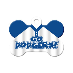 Go Dodgers! Baseball Tee Bone Pet ID Tag