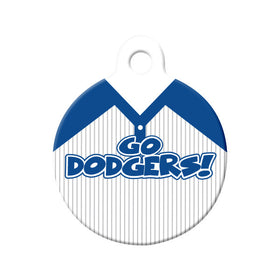 Go Dodgers! Baseball Tee Circle Pet ID Tag