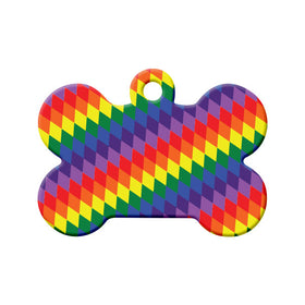 Pride Diamond Rainbow Bone Pet ID Tag