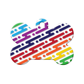 Digital Rainbow Pattern Bone Pet ID Tag
