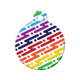 Digital Rainbow Pattern Circle Pet ID Tag