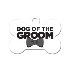 Dog of the Groom Bone Pet ID Tag