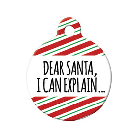 Dear Santa Circle Pet ID Tag