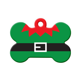Christmas Elf Suit Bone Pet ID Tag