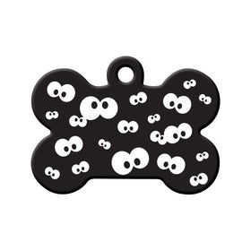 Halloween Spooky Eyes in the Dark Bone Pet ID Tag