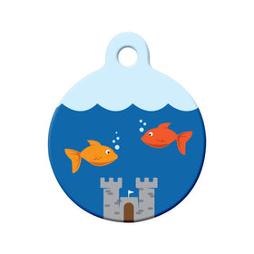 Cat Fish Bowl Bone Pet ID Tag