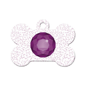 February Birthstone Bone Pet ID Tag