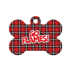 Hockey Plaid Design Bone Pet ID Tag
