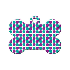 Purple & Teal Floral Pattern Bone Pet ID Tag