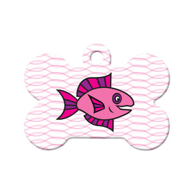 Abstract Fish (Pink & Purple) Pet ID Tag