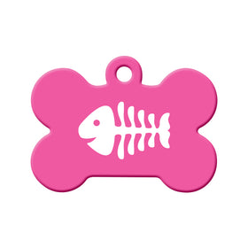 Fishbone (Pink) Pet ID Tag